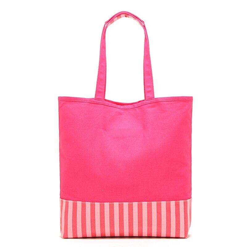 Холст розовый полосатый холст сумочка женская сумка-шоппер V 7120003 s