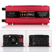 Car Inverter 12v 220v 2000W Voltage Transformer Car Converter 12 to 220 Solar Inversor Auto Power Inverter Charger Adapter DY353