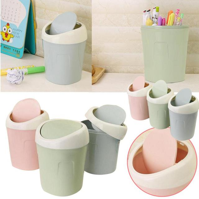 Creative Mini Flip Cover Desktop Dustbin For Bathroom Office