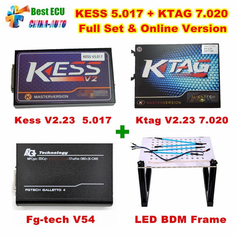 Новый KESS v5.017 v2.23 + KTAG v7.020 v2.23 + fg tech V54 + LED BDM Рамки без жетонов ограничить KESS 5.017 + K TAG 7.020 ЭКЮ программист