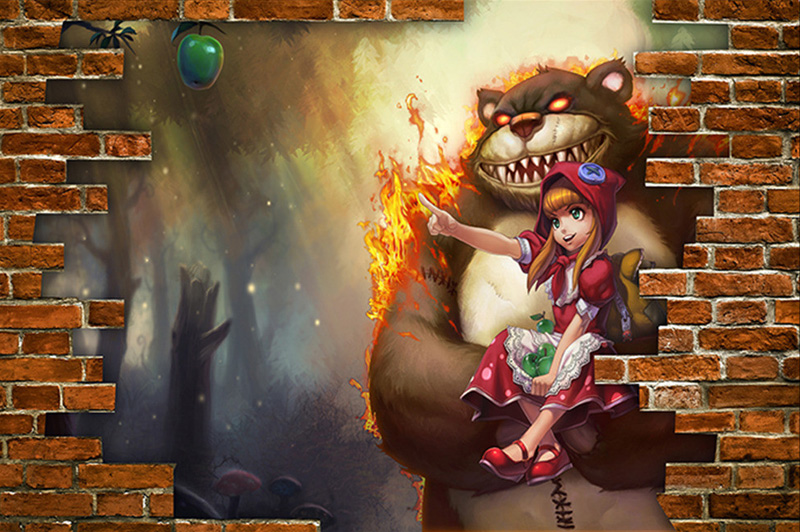 League of legends Wallpaper 3D Game Photo wallpaper Dark Child Annie     League of legends Wallpaper 3D Game Photo wallpaper Dark Child Annie Brick  wallpaper Bedroom Bar Hotel Room decor Cartoon Murals in Wallpapers from  Home