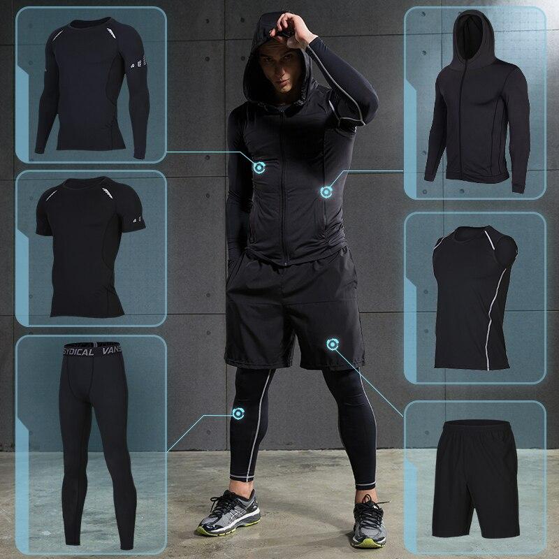De compresión de los hombres ropa deportiva traje de mallas de gimnasio de entrenamiento deportivo trajes de ropa de entrenamiento jogging ropa deportiva chándal ajuste seco