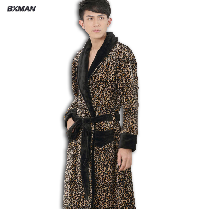 Buy 2016 fashion leopard flannel v neck bathrobe men robe lo - Peignoir homme descamps ...