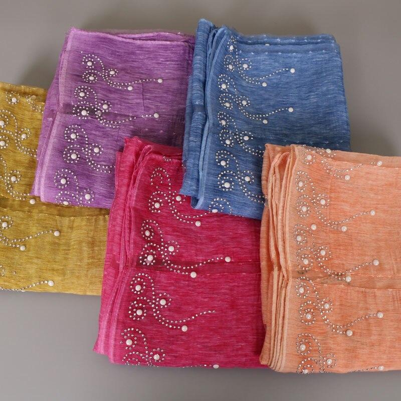 Women s plain Iron beads scarf polyester silk scarves studs silver pearls scarves headband wrap muslim