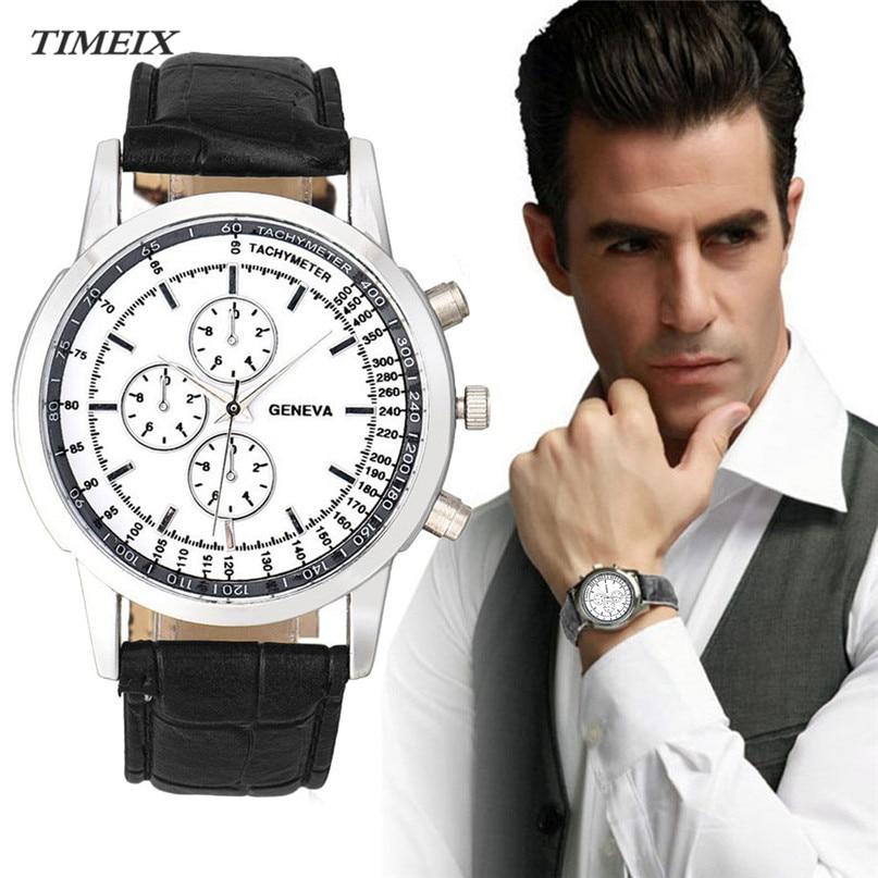 Fashion Watch Men Business Design Dial Leather Analog Quartz Watch Men's Wrist Watches Casual Male Clock relojes hombre 2017