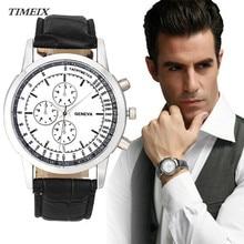 Fashion Watch Men Business Design Dial Leather Analog Quartz Watch Men's Wrist Watches Casual Male Clock relojes hombre 2017*40