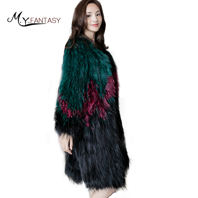 M Y FANSTY 2019 invierno Fox Real Natural abrigo de piel cuello abrigo de zorro Patchwork Color abrigos moda mujer Causal tejido Fox abrigos