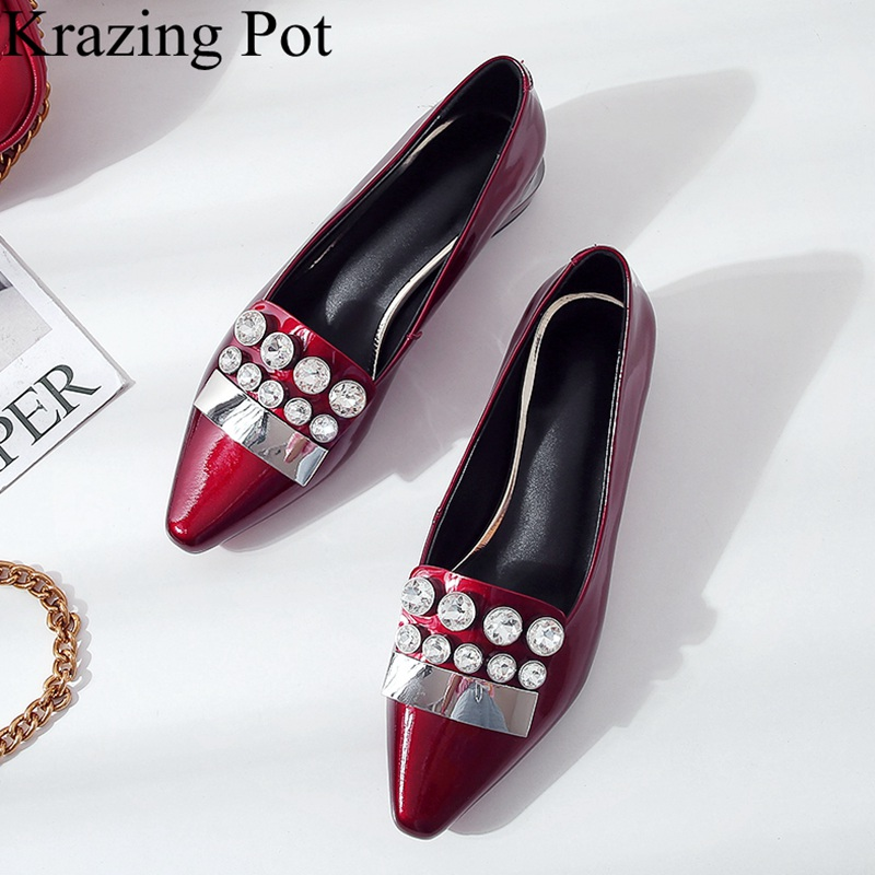 2018 new arrival cow leather crystal square heel women pumps pointed toe elegant low heels slip on sweet office lady shoes L52 new arrival multi ab color wedding shoes women s pumps luxury crystal shoes pointed toe square heel sheepskin real leather shoes