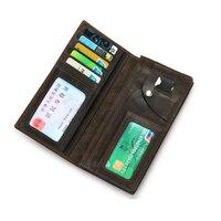 Long Simple Purse Men Wallet Business Men's Genuine Leather Solid Black Wallets