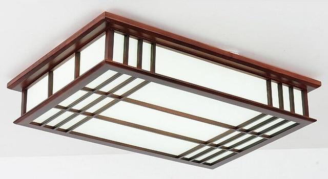 wood ceiling lamp lights rectangle modern flush mount ceiling light