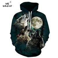 YK UNCLE Brand 2017 Men Women Hoodies New Style Printed Animals Three Wolfs Howl Moon 3D