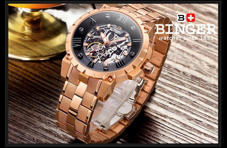 Šveicarija BINGE laikrodžiai vyrams prabangos prekės mechaninis - Vyriški laikrodžiai - Nuotrauka 5