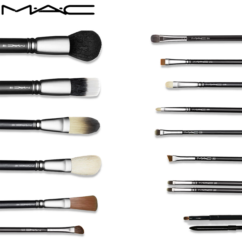 MAC Makeup Brush Set 16PCS Eyeshadow Eyeliner Eyebrow Brush Lip Make Up Brushes Kit Tool Make Up Brushes Professional With Bag msq professional 15 pcs makeup brushes set for women fashion soft face lip eyebrow shadow make up brush set kit pouch bag