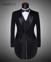 wuzhiyi Classic Design Men Black&White Wedding Suit/Groom Tuxedo/Evening Party/Costumes Tailcoat 3pieces Blazer(+Jacket) suit(China)