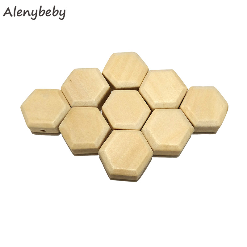 Wood Hexagon Beads Teether Unfinished Solid Wood Beads For Jewelry Necklace Creations DIY Craft And Building Projects