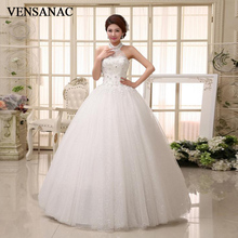 VENSANAC 2018 Crystal Halter Lace Appliques Ball Gown Wedding Dresses Sequined Off The Shoulder Backless Bridal Gowns цена и фото