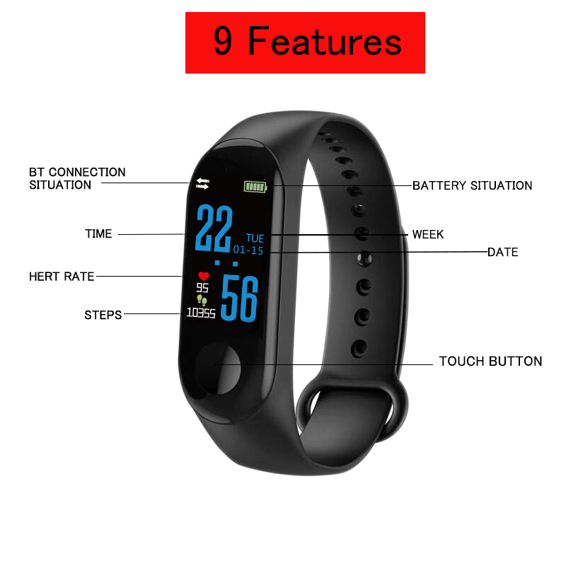 Image 4 - 3 Colors Fitness Bracelet Blood Pressure Outdoor IPS Screen Heart Rate Monitor Life Waterproof Smart Wristbands PK Mi Band 4-in Smart Wristbands from Consumer Electronics