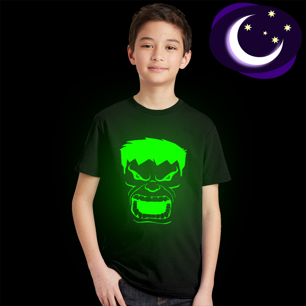 Girls Tees Hulk Casual-Tshirt Avengers Fluorescent Glow-In-Dark Luminous Boys The Face-Print