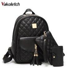 3 sets School Bags For Teenage Girls New 2020 Women Backpack Leather Ladies Shoulder Bags book bag black Backpacks Bagpack KL130