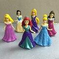6 pçs/set crianças brinquedo menina branca de neve vestido de princesa casa de jogo brinquedos estatueta boneca de decoração do bolo