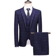 (Jacket + Vest + Pants) MOGU 2019 New Men's Wedding Suit Men's Slim Blazers Suits Men's Suits Business Formal Evening Blue 4XL(China)