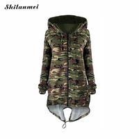 New Fashion 2017 Outono Camuflagem Militar Jaqueta Casaco de Bolso Com Zíper Mulheres Jaqueta Com Capuz Magro Causal Feminino Casacos Jaqueta Outwear