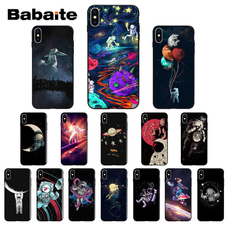 Babaite Space Moon astronaut TPU black Phone Case Cover Shell for iPhone 7 8 6 6S Plus 5 5S SE XR X XS MAX Coque Shell