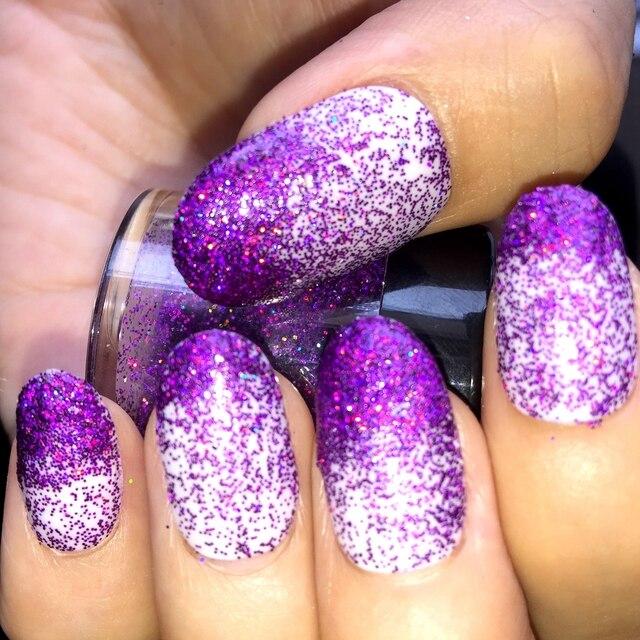 Colored Light Glitter Powder Holographic Deep Purple Nail Art