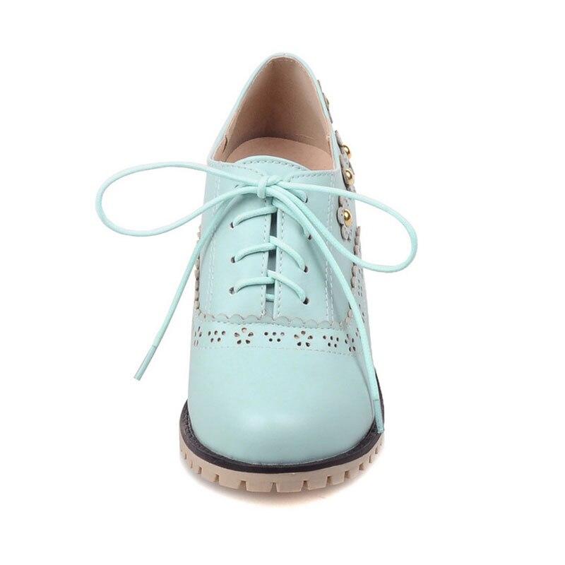 blue Fleur Talons Style Dames black Richelieu Femmes Douce pink Italien Fanyuan Épais Sculpté Haute Dentelle Chaussures Femme up Casual Beige zqU5Z0