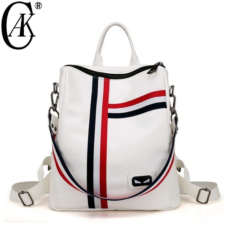 Cak Fashion Women Backpack White Soft Leather School Backpacks For Teenage Girls Casual Large Capacity Shoulder Travel Bags 8221 2017 brand vintage women backpack school backpacks for teenage girls casual large capacity shoulder bags laptop rucksack tgm315