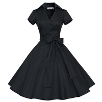 European Style States Summer Ladies Hepburn Wind Large Size S 4xl Elegant V Collar Slim Wave