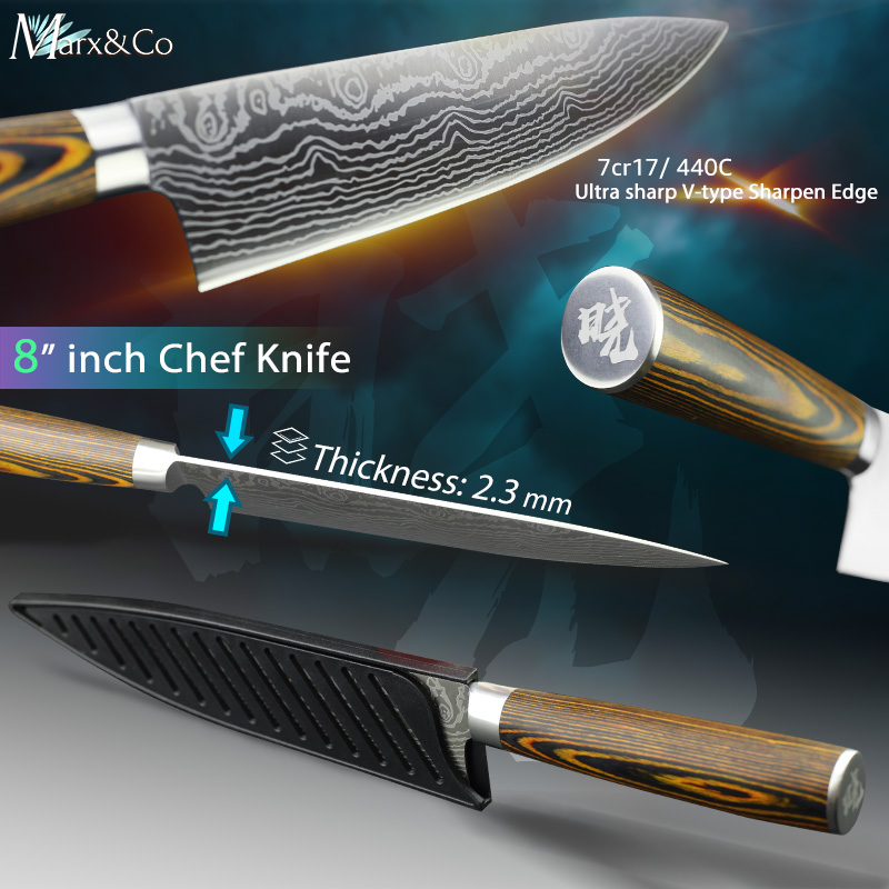 Kitchen knife Japanese 8 inch Chef Knives 7CR17 440C High Carbon Stainless German Steel Meat Cleaver Vegetable Santoku Knife in Kitchen Knives from Home Garden