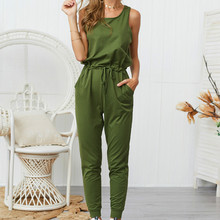 Ladies sexy casual jumpsuit five-color sleeveless round neck straps jumpsuit summer with pocket cotton one-piece trousers casual sleeveless round neck detachable women s jumpsuit