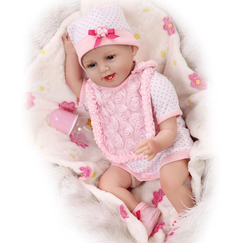 ФОТО Soft Body Cute Baby 55cm Silicone Reborn Baby Doll Toy For Girls Vinyl Newborn Girl Babies Dolls Kids Child Gift Girl Brinquedos