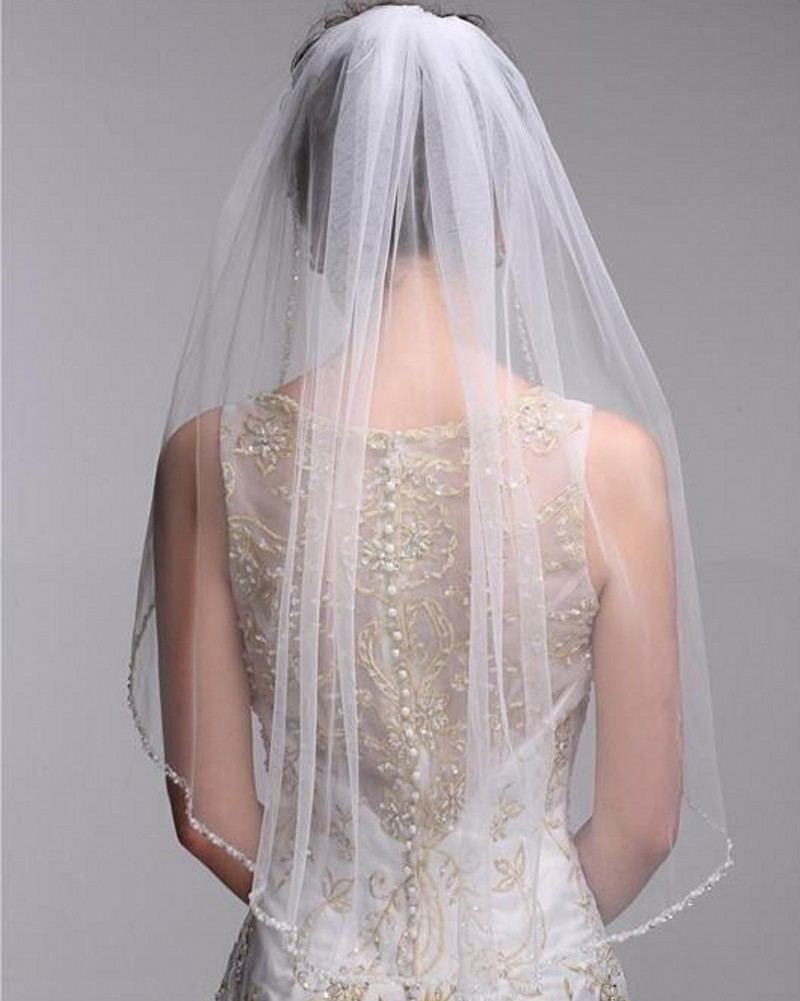 Woman Tulle Edge Beaded Wedding Veils With Comb One Layer White Ivory Short Bridal Veil Simple Wedding Accessories 2018