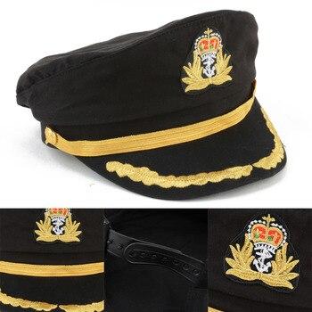 Negro capitán de barco Marina Cap sombrero de marinero de ostume fiesta  vestido de Cosplay sombrero de marinero capitán sombrero para los hombres  las ... 988f21c5c30
