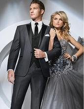 Classic Style Charcoal Groom Tuxedos Groomsmen Men's Wedding Prom Suits Bridegroom (Jacket+Pants+Vest+Tie) K:914