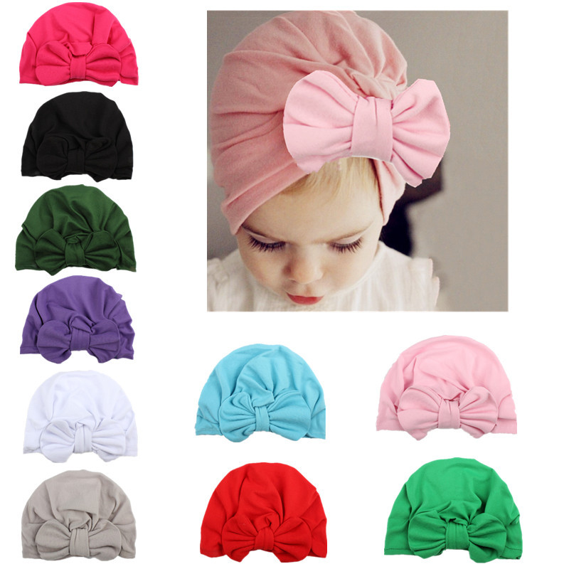 Baby Hat Children Baby Caps Cotton Big bowknot Girls Boys Hats Newborn Photography Props Candy Color Beanies Accessories