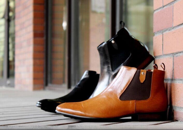 Echtes Leder Männer Stiefel spitz Zehen Slip auf Business Kleid Stiefeletten Männer hochwertige tägliche Freizeit Arbeit Cowboy