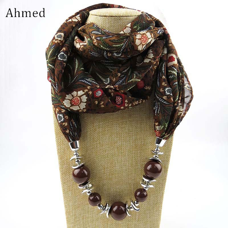 Ahmed Muslim Beads Flowers Pendant Scarf Necklace For Women Fashion Printing Scarves New Bijoux Statement Collar Jewelry