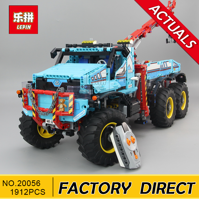 Lepin 20056 Technic Series The Ultimate All Terrain 6X6 Remote Control Truck Set Building Blocks Bricks Toy Clone 42070 lepins 1912pcs technic series the ultimate all terrain 6x6 remote control truck building blocks bricks toys model figures gift