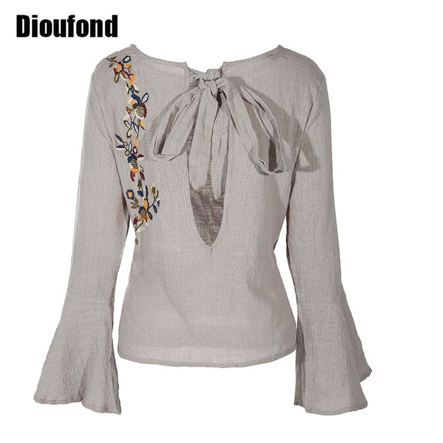 Dioufond Linen Embroidery Blouse Long Sleeve 2017 Women Shirts Blouses Linen White Black Blouse O-Neck Korean Fashion Clothing