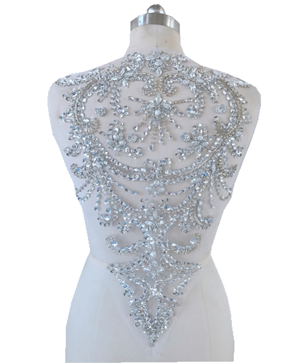 Handmade Silver Crystal  Patches  Sequins  Rhinestones Applique 51*32cm For Top Dress Skirt Back