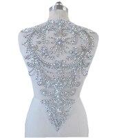 Handgemaakte zilveren crystal patches Pailletten Steentjes applique 51*32 cm voor top jurk rok terug