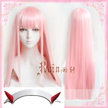New Arrival DARLING in the FRANXX 02 Zero Two 100cm Long Pink Synthetic Hair Cos