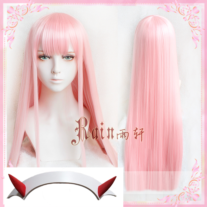 New Arrival DARLING In The FRANXX 02 Zero Two 100cm Long Pink Synthetic Hair Cosplay Costume Wig + Horn Hairband