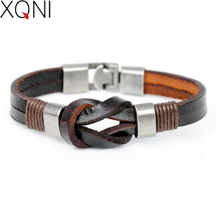 2017 New Fashion Simple Genuine Leather Bracelet Men Popular Vintage Knight Courage Bandage Wrap Stainless Steel Bracelets.