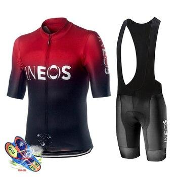 Camisa de ciclismo 2019 Pro Team INEOS Verão Conjunto Camisa de Ciclismo Respirável Esporte de Corrida Mtb Bicicleta Jerseys Roupas de Ciclismo dos homens