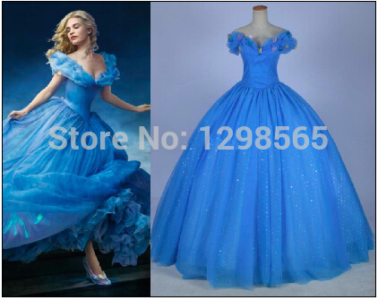 New movie Cinderella Princess 2015 Cinderella dress for adult women blue deluxe  Cinderella cosplay costume girl