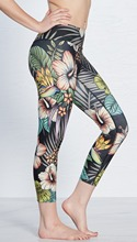 2017 New Women Hibiscus Floral Print Fitness Quick Dry Workout Leggings Knee Length Aerobic Exercise Pants